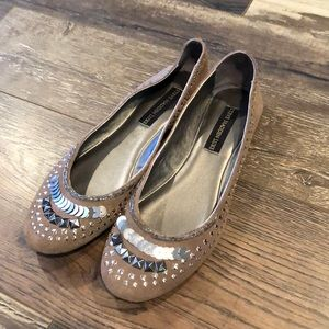 Steve Madden Luxe 'Keep'Taupe Silver Suede Flats 9